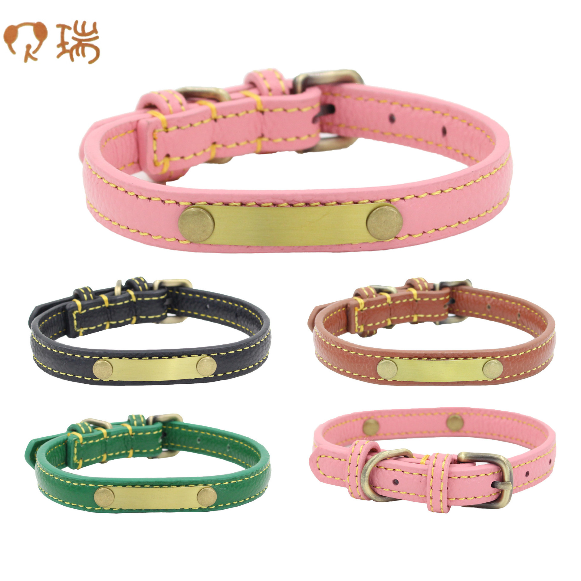 Berry New Style Can Carve Writing Genuine Leather Retro Pet Collar Double Layer Embossed Leather Genuine Leather Dog Neck Ring S
