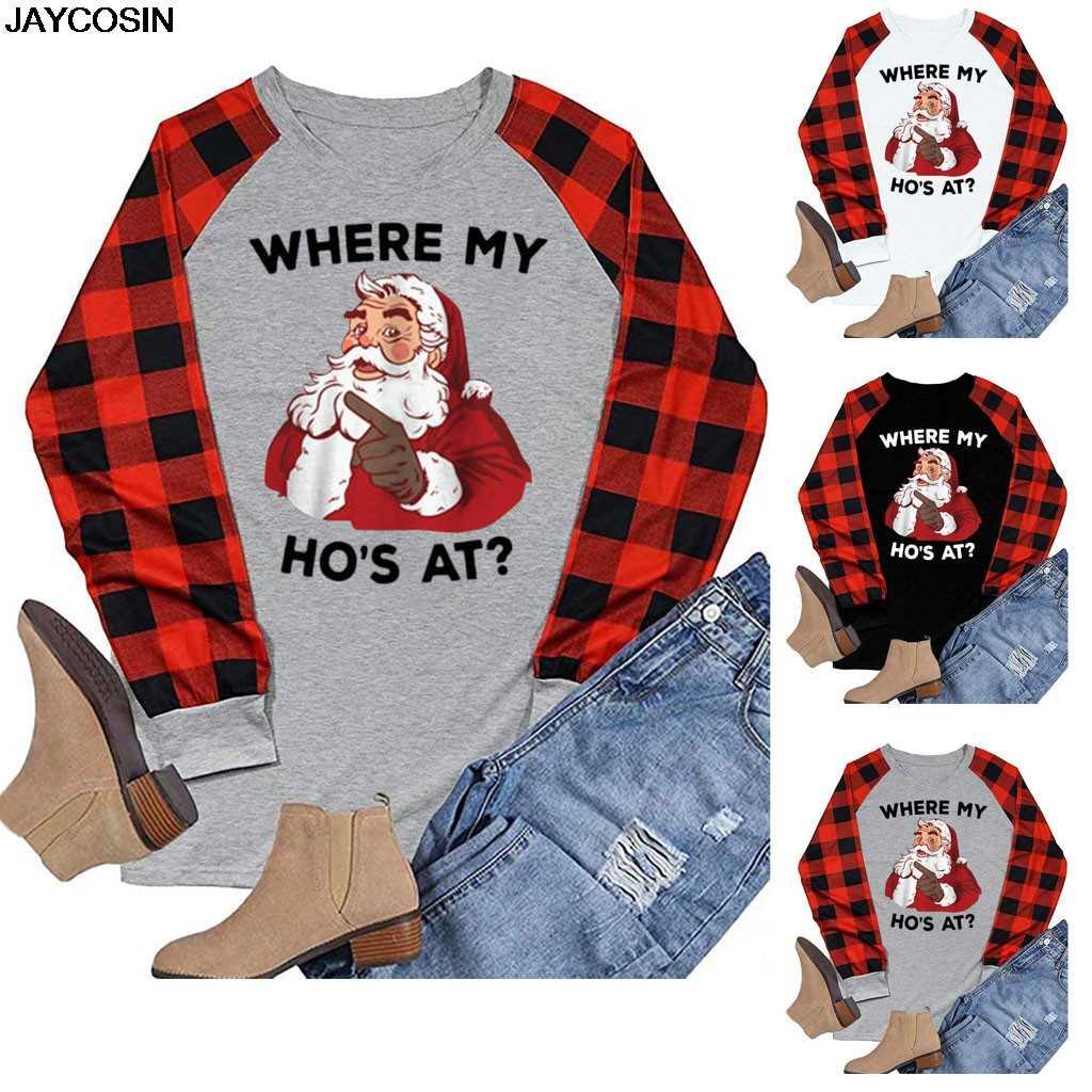 Jaycosin 2020 패션 여성 t-셔츠 메리 크리스마스 트리 격자 무늬 인쇄 된 여성 야구 t-셔츠 귀여운 티 캐주얼 숙 녀 탑스 티