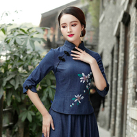 Sheng Coco Chinese Style Denim Tops Hand Painted Flowers Qipao Blouse Cowboy Blue Cheongsam Shirt Seven Sleeve Woman Clothing