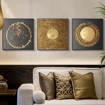 Laeacco Golden Art Poster Wall Art Print Canvas Painting Nordic Home Decor Wall Pictures for Living Room Bedroom Decoration birds abstract nordic wall pictures poster print canvas painting calligraphy decor for living room bedroom home decor frameless