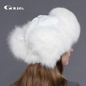 Image 4 - Gours 여성용 모피 모자 천연 너구리 여우 모피 러시아어 Ushanka 모자 겨울 두꺼운 따뜻한 귀 패션 폭탄 모자 검정 새 도착