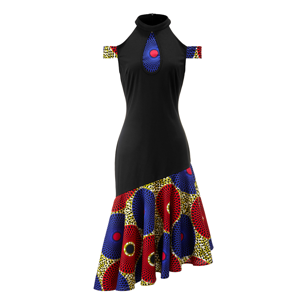 African Dresses For Women Long Cotton Material Print Wax Dress African Halter Dress New Style Fashion Slim Ankara Dresses