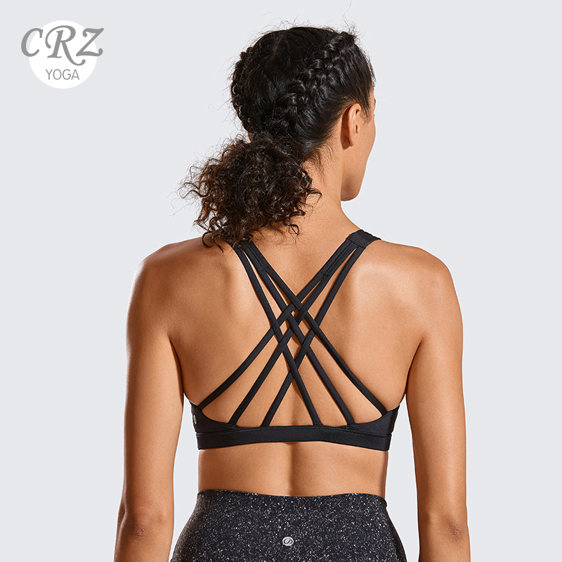CRZ YOGA Women's Low Impact Strappy Sports Bra Cross Back Workout Yoga Bra Tops With Removable Pads