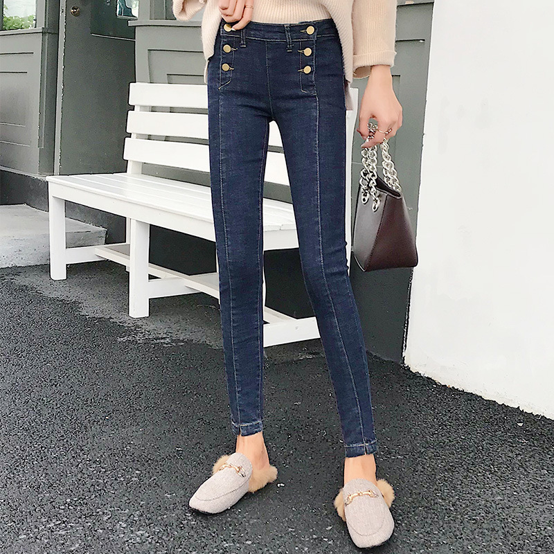 WOMEN'S Pants Autumn And Winter Fashion New Style Cattle High-waisted Slim Fit Buckle Belly Holding Denim (Ankle-length Pants) B