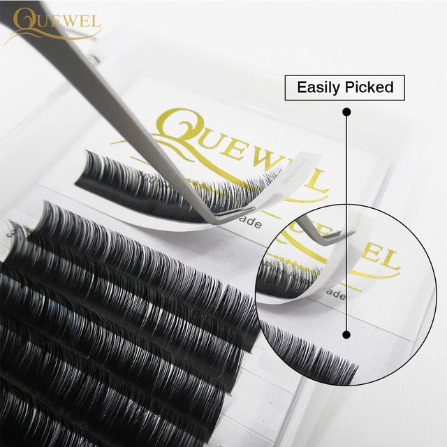 Quewel Eyelash Extension 12 Lines/Tray Silk Cilios Soft Professionals Individual Eye Lash Extensions C/CC/D Curl  False Lashes 2