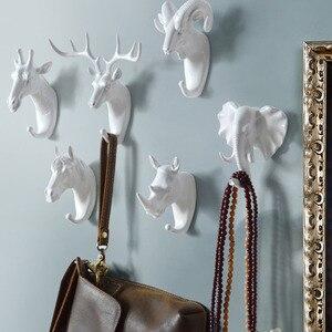 Hayvan kanca askı tuşları yaratıcı asılı tutucu duvar ev güçlü yapışma dekoratif fil gergedan geyik at kanca