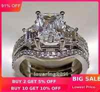 Choucong Prinzessin cut 5ct Stein 5A Zirkon stein 10KT Weiß Gold Gefüllt 3-in-1, Verlobung, Hochzeit Ring set Größe 5-11 Geschenk