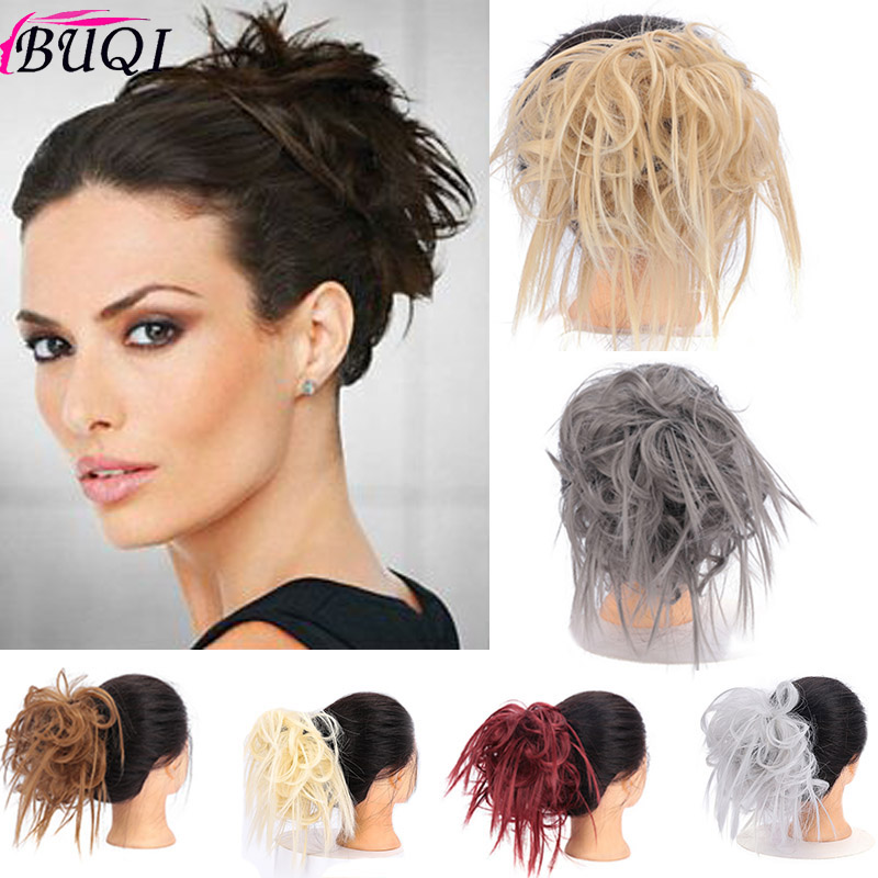 BUQI 10 Color Messy Scrunchie Chignon Hair Bun Straight Elastic Band Updo Hairpiece Synthetic Chignon Hair Extension For Women