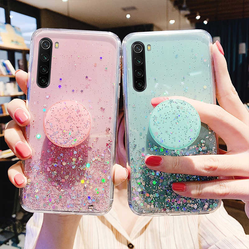 Glitter Ster Siliconen Case Voor Xiaomi Redmi Note 8 7 K20 Pro Telefoon Cover Voor Mi A3 A2 9 Lite CC9 9T CC9e Met Houder Bling Cover