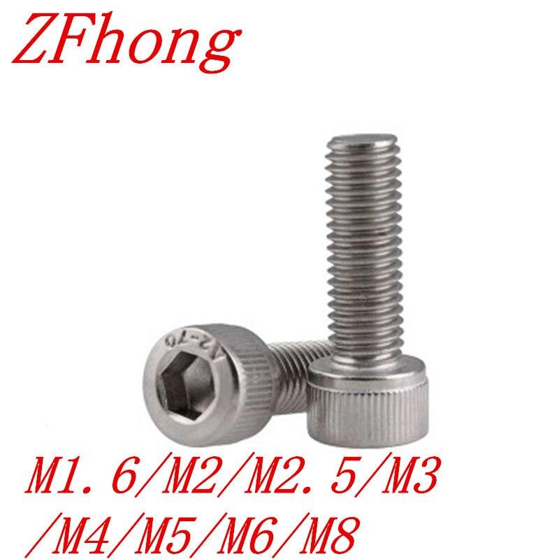 DIN912 5-50pcs 304ss Cap Screw M1.4 M1.6 M2 M2.5 M3 M4 M5 M6 M8 Stainless Steel 304 Hexagon Hex Socket Head Cap Screw