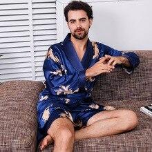 Bathrobe + Shorts Two Piece Set Emulation Silk Kimono Men Sexy Robe Soft Cozy Thin Long-sleeved Bath Gown Large Size M-5XL