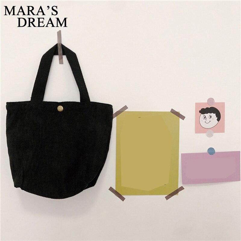Mara's Dream 2019 New Solid Color Casual Wild Mini Handbag Literary Corduroy Bag Ladies Handbag Retro Bag