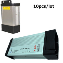 10ps Fedex DHL DC12V LED Outdoor anti-rain rainproof Power Supply 250W Driver Lighting Transformers Aluminum Case