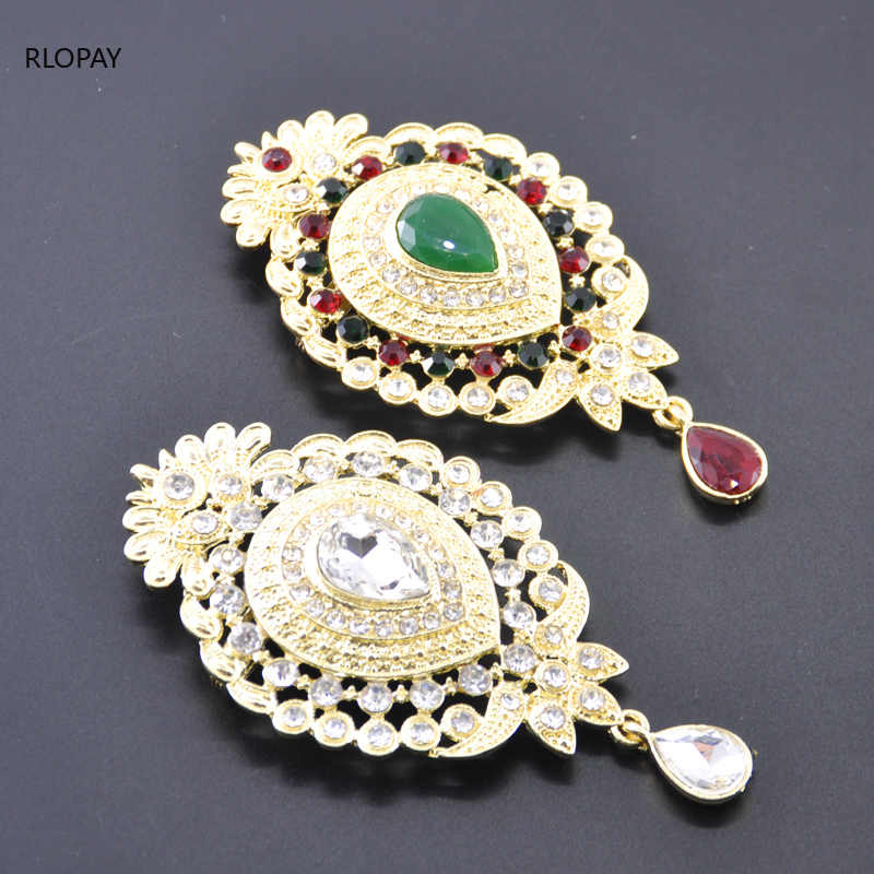 Vintage Gold Crown Bridal Brooch Crystal Jewelry Women Brooches Rhinestone Scarf Brooch Pins Bouquet For Wedding