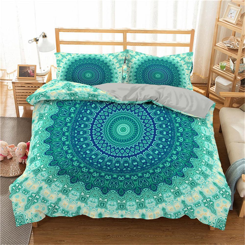 Homesky Mandala Bedding Set Floral Paisley Pattern Duvet Cover Set Bohemian Comforter Bedding Sets Queen King Size