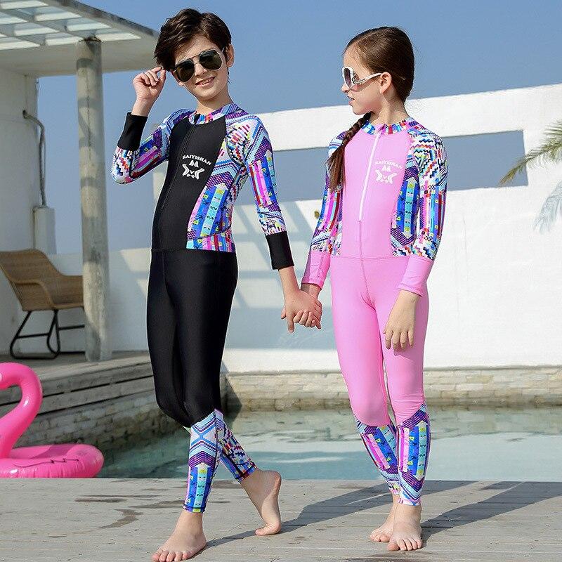 CHILDREN'S Swimwear BOY'S Split Type Sun-resistant Bathing Suit Men's Big Kid Long Sleeve Trousers Hot Springs Surfing Students