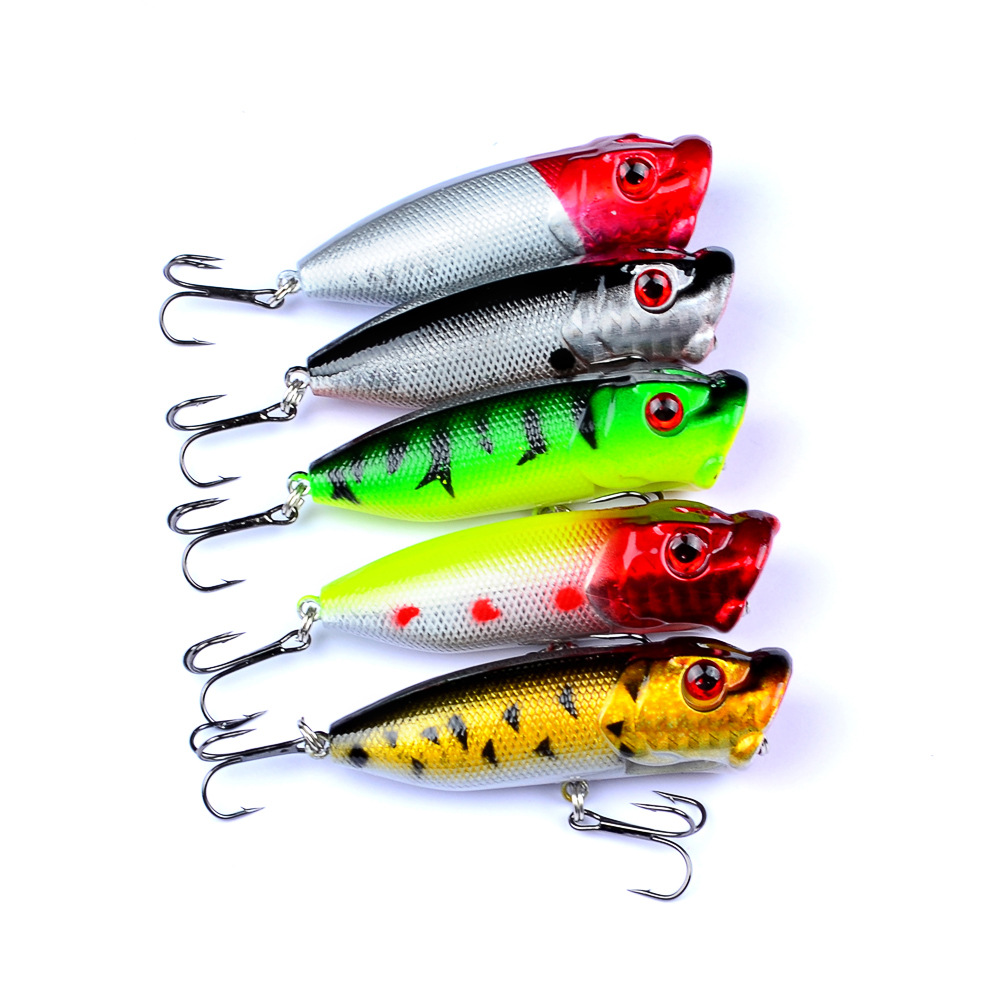 1PC 12g Popper Fishing Lures 2019 With 2 Treble Hooks Artificial Fishing Hard Bait Sahte Yemler Ice Fish 7.3cm Plastic Hunthouse