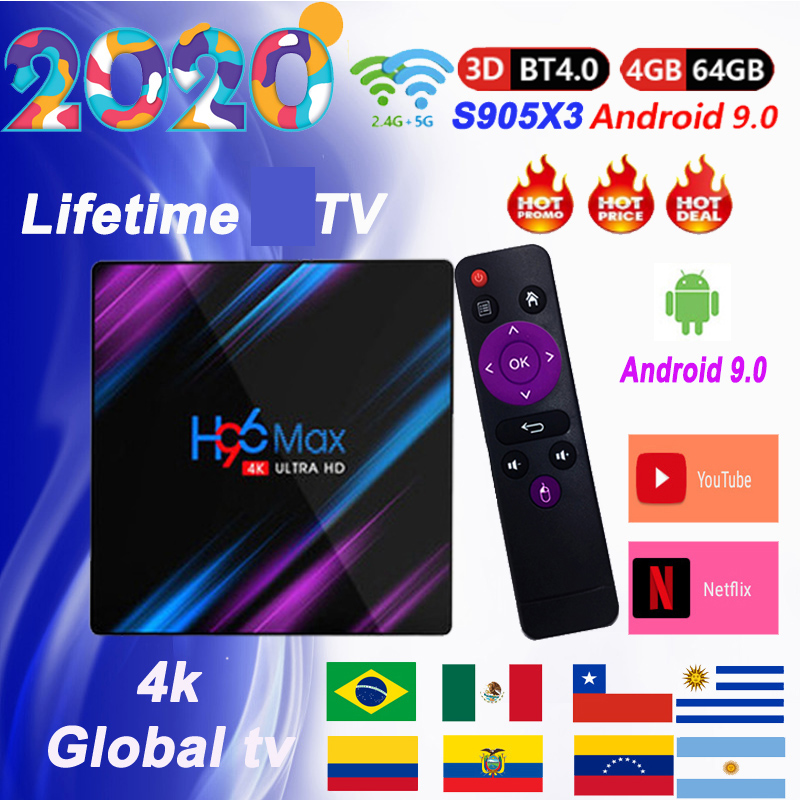 H96 Tv Box Android 9.0 Spain  TV  Arabic Algeria Germany Belgium Netherlands Usa TV  Android M3U Lifetime Tv