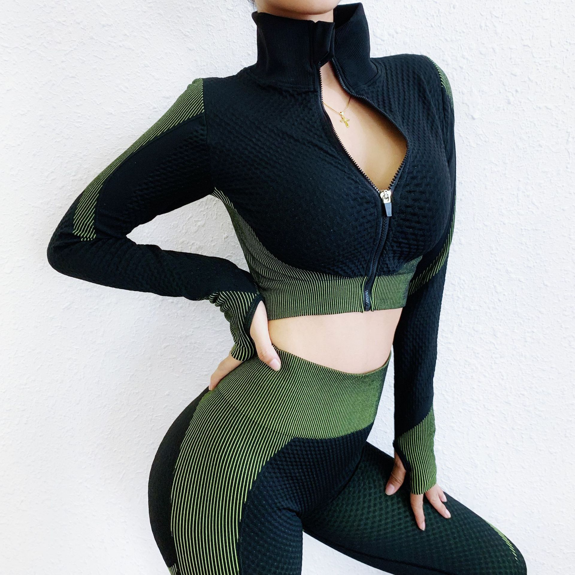 Seamless Gym Clothing Fitness Suit Yoga Set Tracksuit Women Running Clothes Zipper Long Sleeve Crop Top High Waist Yoga Pants