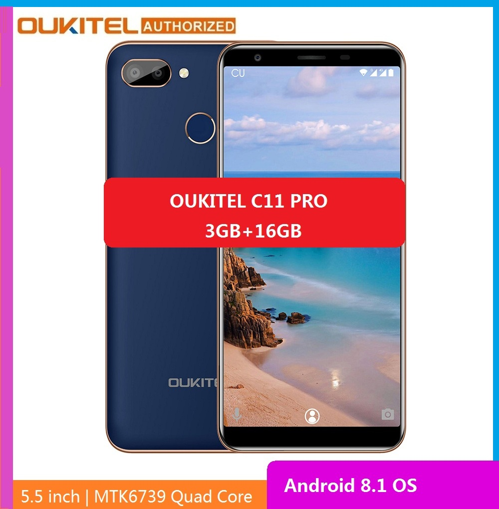 OUKITEL C11 Pro 4G Smartphone 5.5 Inch 18:9 Android 8.1 Quad Core 3GB RAM 16GB ROM Cell Phones 3400mAh Mobile Phone