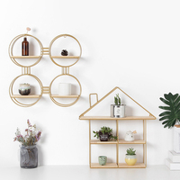 New Nordic Style Wrought Iron Wall Shelf Storage Racks Hanging Organizer Figurines Display Crafts Floating Shelves Holder Home D