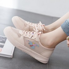 Hot Sale New Spring Shoes Woman Lace-Up White PU Leather Mesh Female Casual Women Sneakers D0089