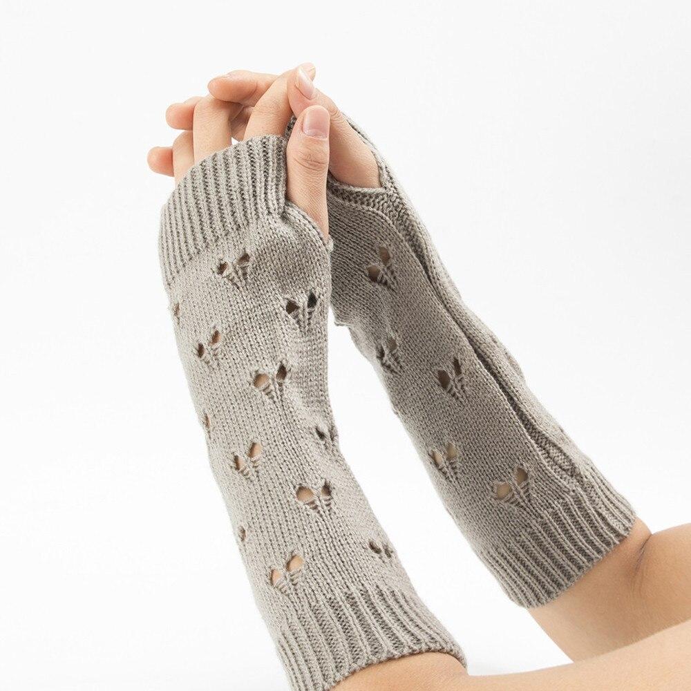 06# Autumn Winter Women Warmth Knitted Arm Fingerless Gloves Long Stretchy Mittens Men Women Winter Hand Arm Warm Female Gloves