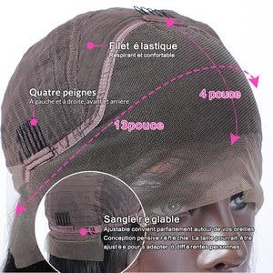 Image 5 - Rosabeauty 28 30 inç dantel ön İnsan saç peruk ön koparıp perulu düz % 250 yoğunluk ön peruk siyah