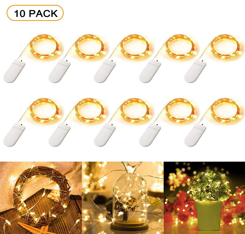10 Pcs LED Fairy String Lights Battery Operated LED Copper Wire String Lights Outdoor Waterproof Bottle Light For Bedroom Decor