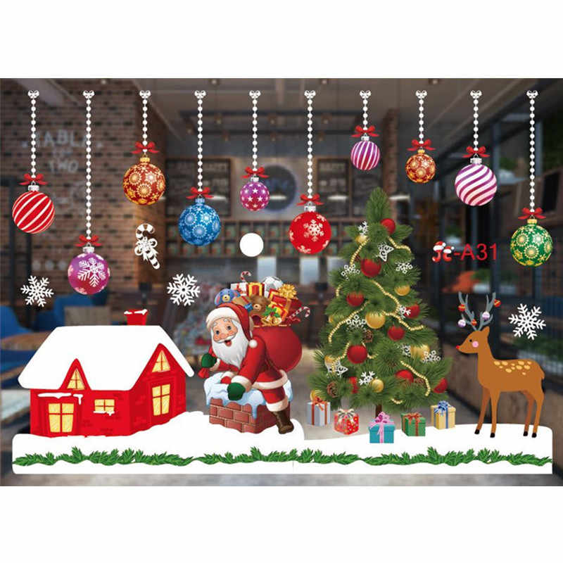 Merry Christmas Wall Stickers Window Glass Stickers Christmas Decorations For Home 2020 Navidad Ornaments Xmas New Year 2021 Decorations For Home Wall Sticker Christmasstickers Christmas Aliexpress