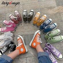 Zapatos de lona vintage para mujer, zapatos vulcanizados de plataforma plana de alta calidad, zapatillas de lona informales para mujer
