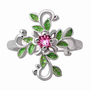 NPKDS модное женское классическое кольцо с листьями, цветами и крестиком, для юбилея, вечерние, банкета, свадьбы, ювелирные изделия, аксессуары