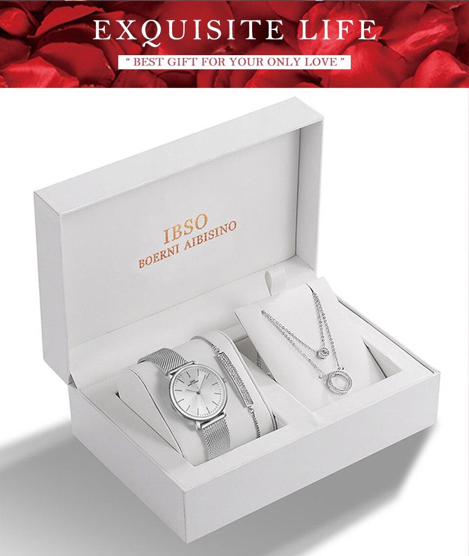 Ensemble bijoux Femme montre cristal Design Bracelet collier 1