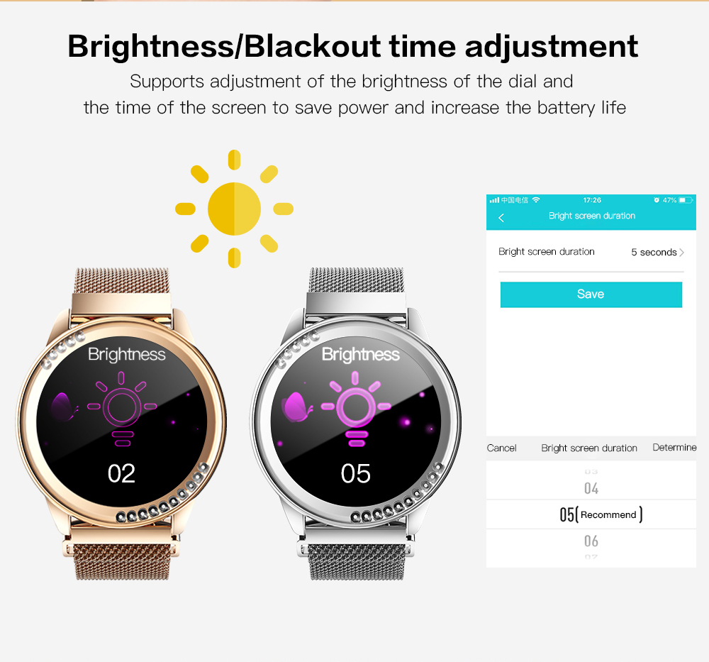 LEMFO LT05 Smart Watch Women 1.03 Inch Screen Alloy Case 24-Hour Sleep Heart Rate Monitoring IP67 Waterproof Lady Smartwatch