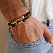 Natural Stone Bracelet Men bead bracelet Micro Pave CZ 8mm Disco Ball Charms Bracelets for Women Jewelry 2pc/sets Viking Bijoux wml luxury natural stone bead men bracelet micro pave cz eyes charm bracelets