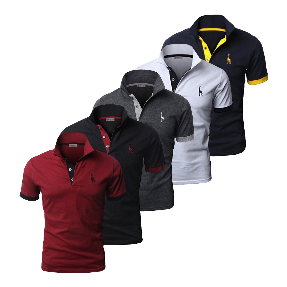 5 Pcs Set Polo Men Solid Slim Fit Short Sleeve Patchwork Cotton Polo Shirt Men Fashion Streetwear