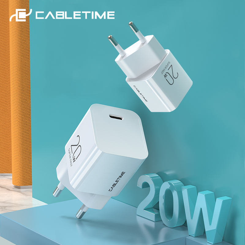 CABLETIME PD 20W Charger USB C Mini Fast Charging for iPhone 12 iPad pro Xiaomi Nintendo