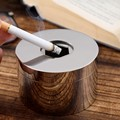 Stainless steel ashtray with cover European style creative personality trend home living room office anti fly ash ashtray