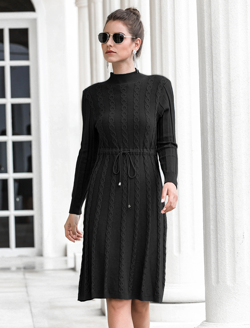 Autumn Winter Dresses 2019 New Arrival Fashion Casual Knee Length Knitted Dress Ladies Long Sleeve Sweater Dresses Black Blue 83