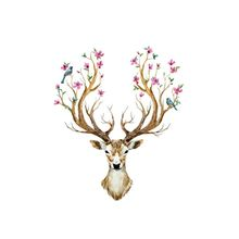 DIY Sika Deer Head Flowers Wall stickers For Living Room Art Vinyl Decals Kids Baby Home Decor