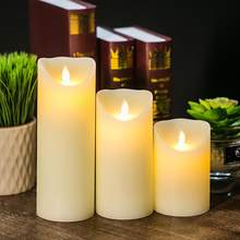 Flameless LED Candle Light Real Paraffin Wax Pillars Candle Light with Realistic Swing Flames for Home Christmas Wedding Decor