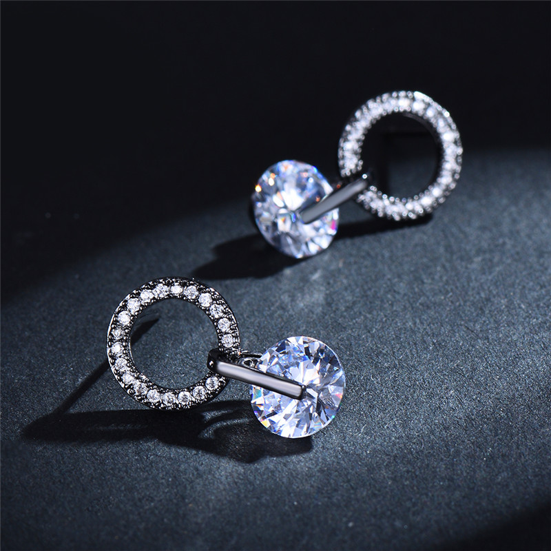 Boho Small Crystal Stone Round Stud Earrings For Women White Gold Rose Yellow Black Gold White Zircon Wedding Ear Studs Jewelry