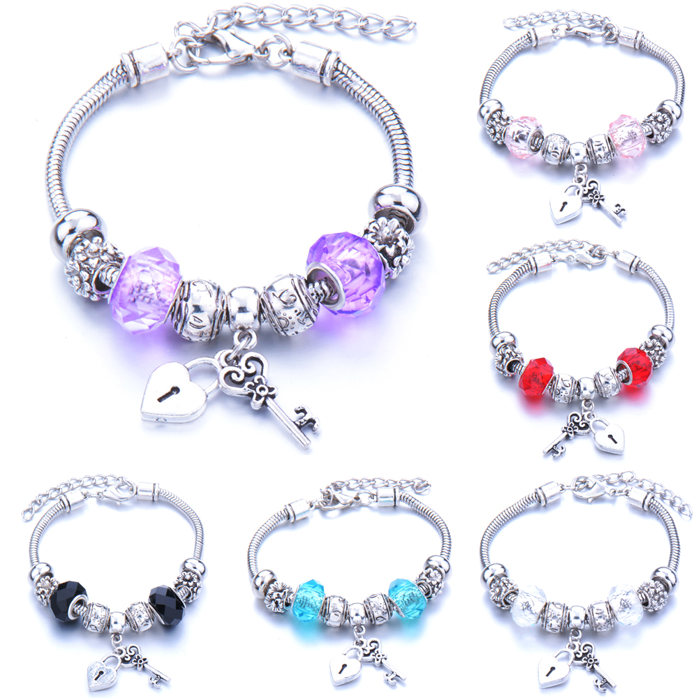 Antique Original Heart-Shaped Key lock Charm Bracelets For Women Glass Beads Brand Bracelet & Bangle DIY Jewelry Gifts(China)