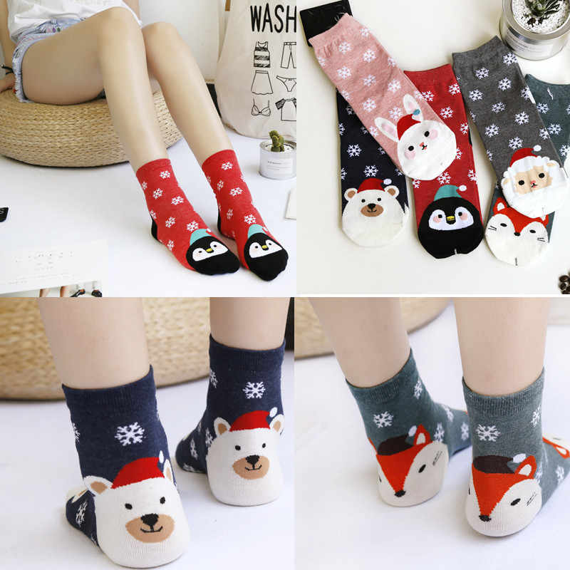 2018 New Design fashion Christmas Santa Socks Women's Cotton Short Winter Socks Cartoon Cute Animal Print Socks New Year Gifts#D