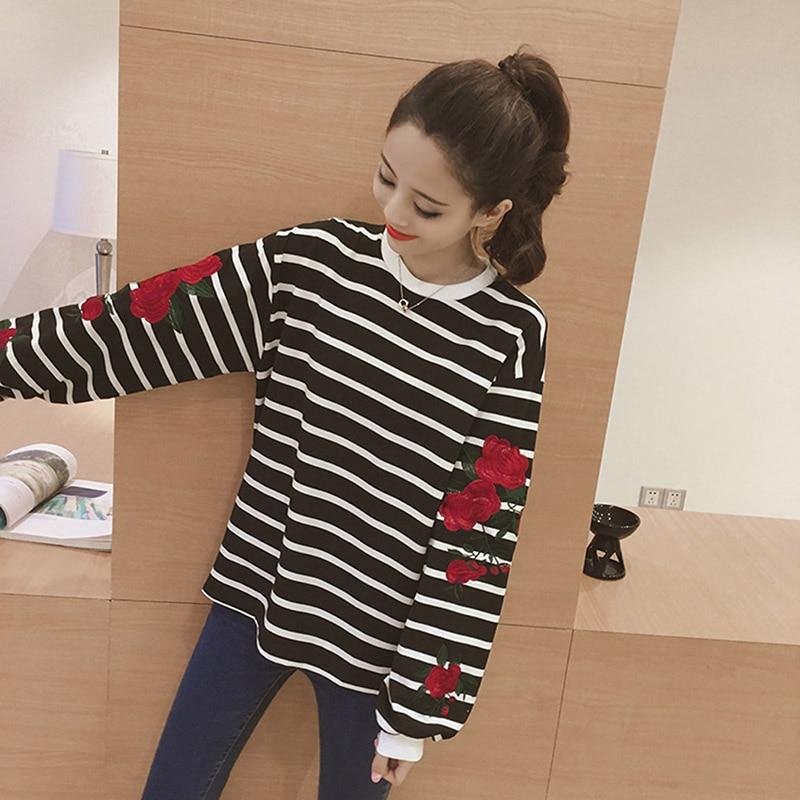 2020 Повседневная модная свободная вышитая полосатая женская футболка с рукавом летучая мышь, свитер, пуловер, толстовка
