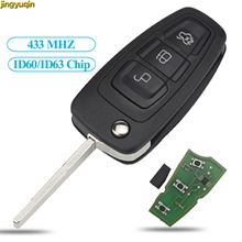 Jingyuqin Flip Remote Car Key FOB 433MHz 4D63/60 40/80bit Chip for Ford Focus Fiesta 2013 HU101 Blade 3 Buttons