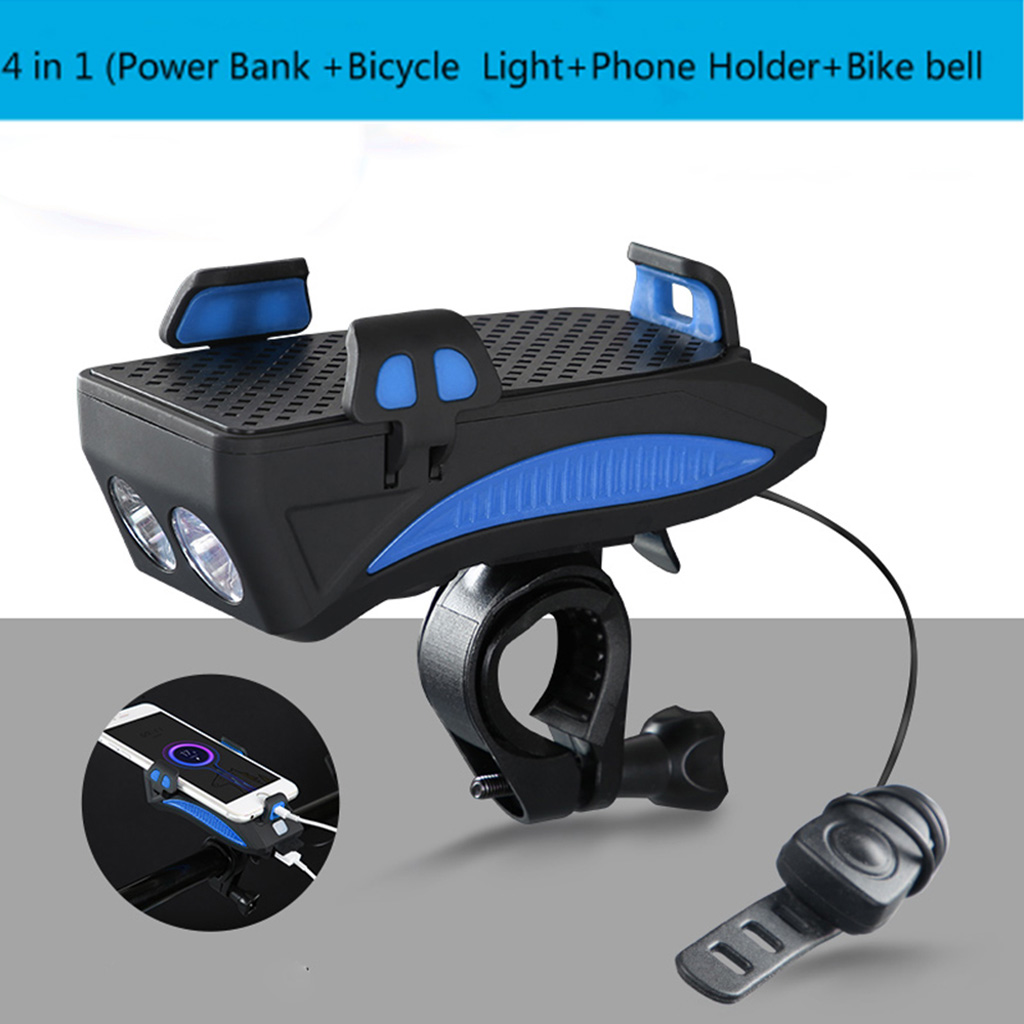 4-in-1 USB LED Bicycle Headlight Front Light Lamp Torch Night Cycling Safety Alarm Horn Handlebar Phone Holder