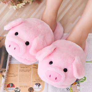 Winter Cotton Slippers Plush Shoes Cartoon Animal Slides Pink Pig Faux Fur Sliders Soft Sole Cozy Bedroom Floor Sandals For Girl