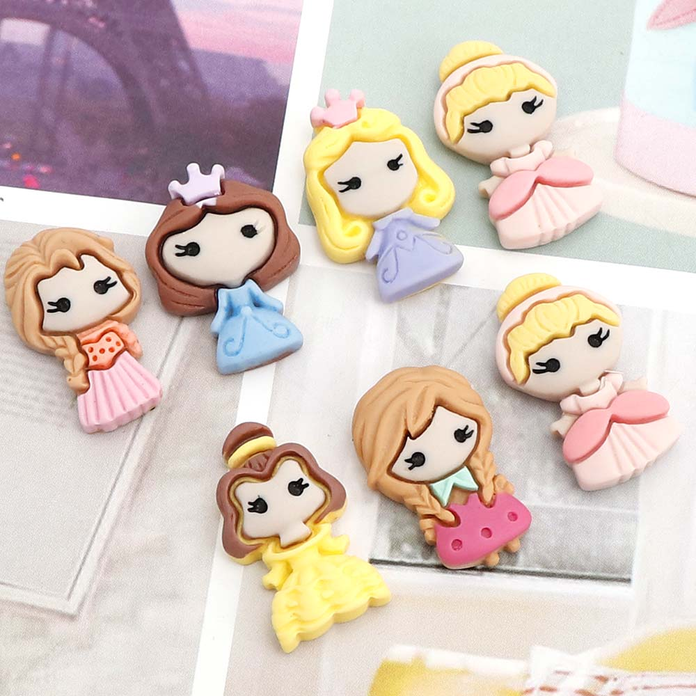 10pc/lot Kawaii Cartoon Princess Flat Back Resin Scrapbooking Accessories Girl Resin Cabochons Hair Embellishments