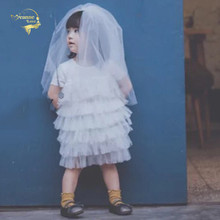Girls' First Communion Veils Headpiece Veil Baby Children White Puffy Princess Photography Birthday Flower Girl Tulle